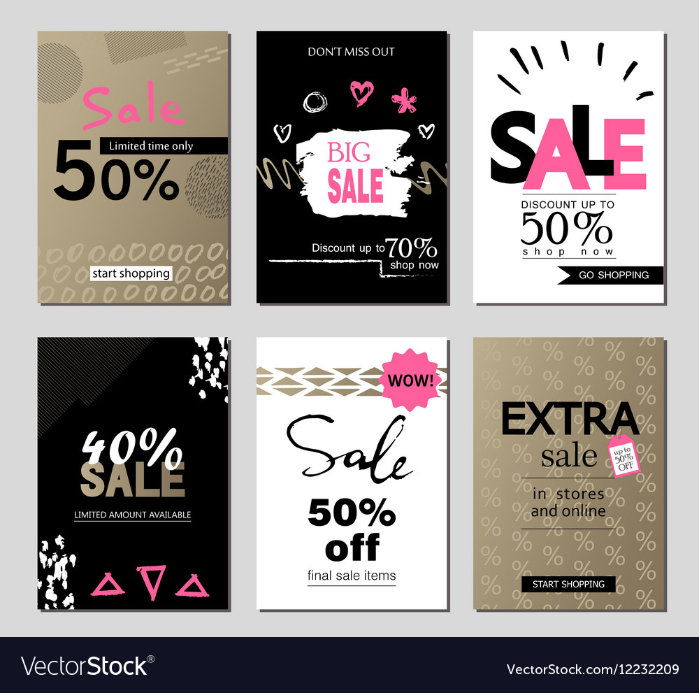 Set of social media sale website and mobile banner