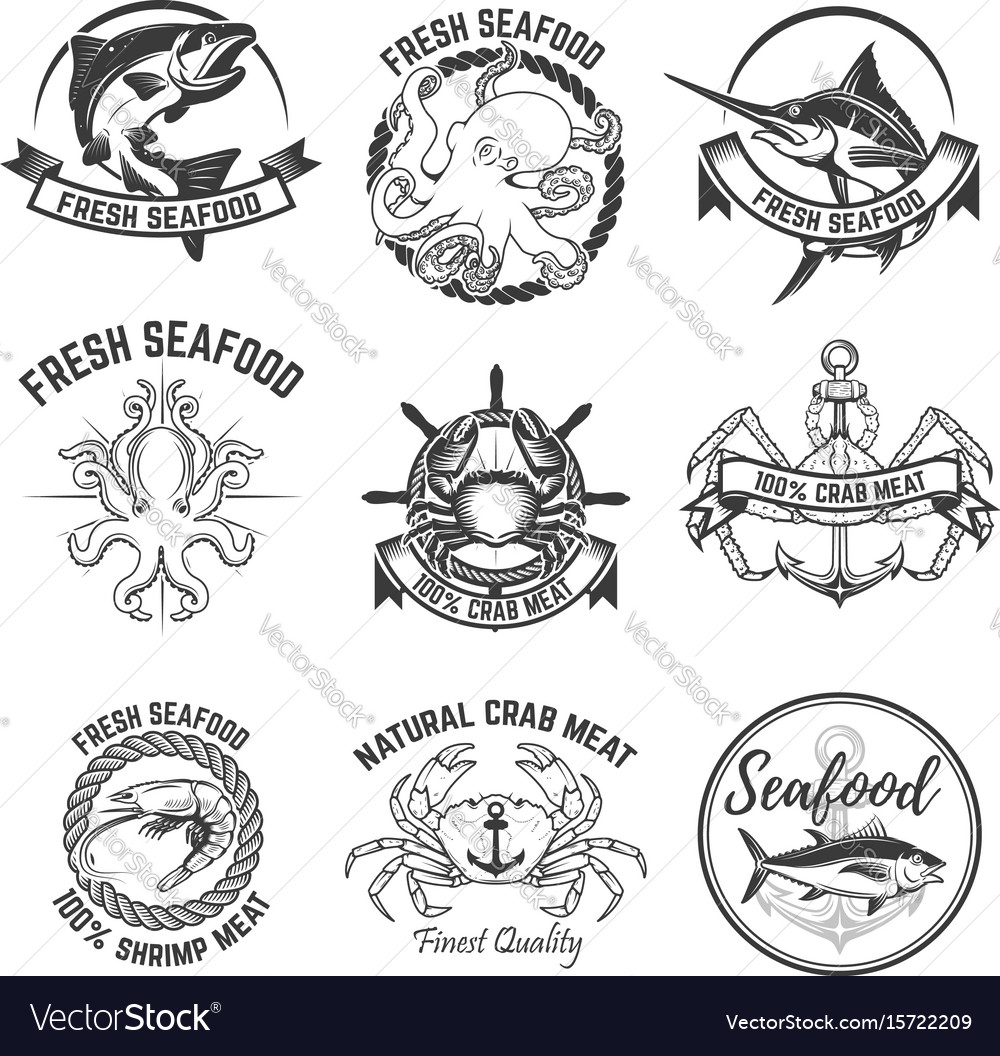 Set of the seafood labels isolated on white vector image