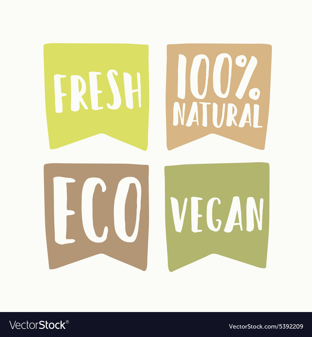 Set of vegan eco labels