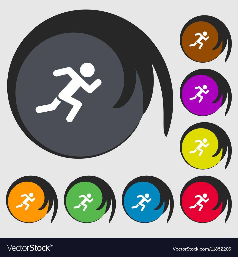 Simple running human icon sign Symbols on eight