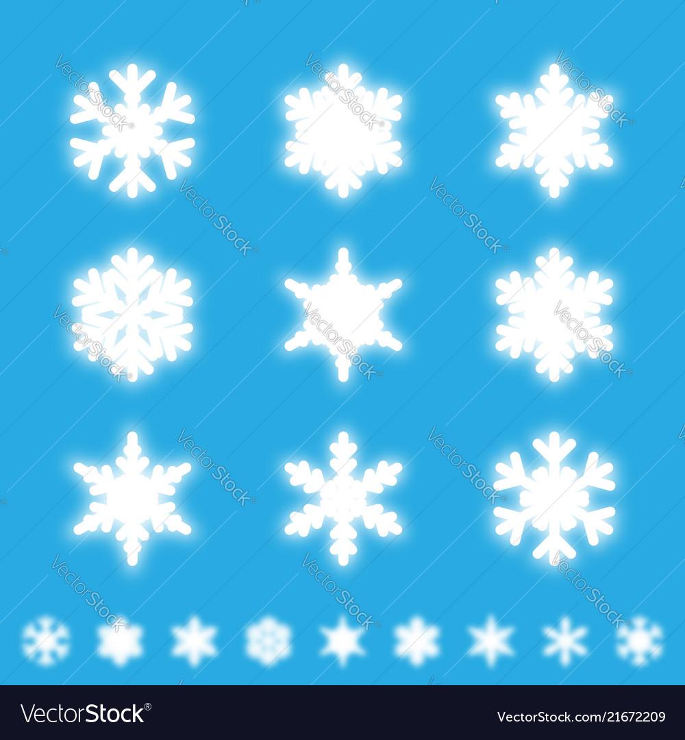 Snowflakes isolated set white neon light snow