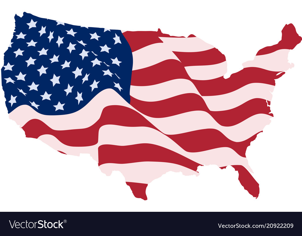 Usa flag in form maps united states