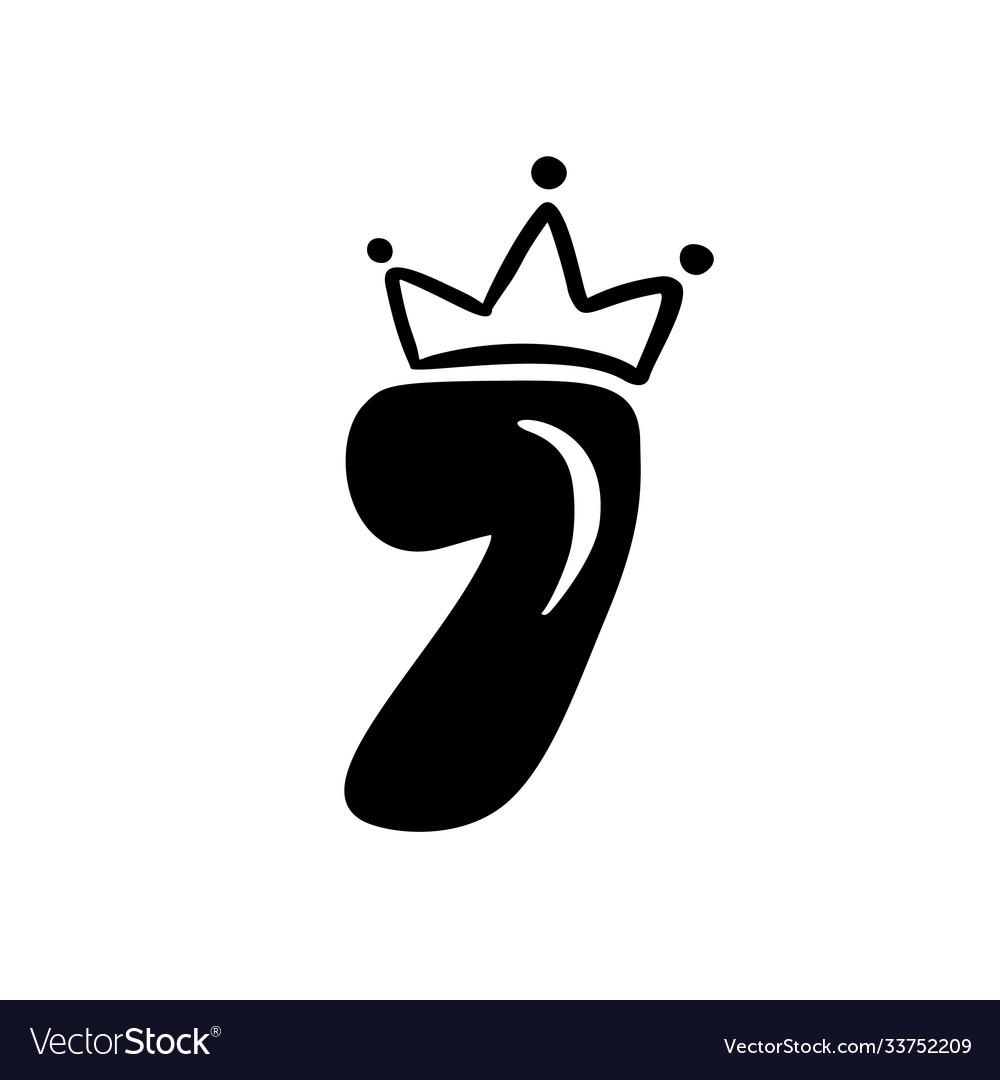Vintage plump cute number 7 with crown