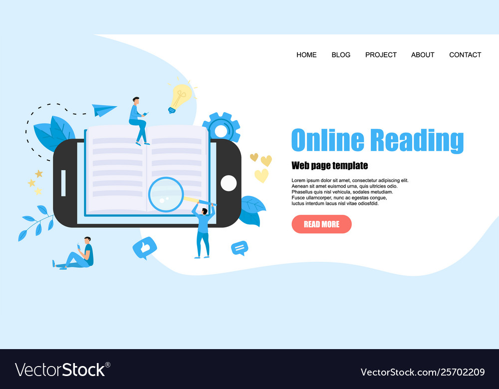 Webpage Template Flat Design Open Book Royalty Free Vector