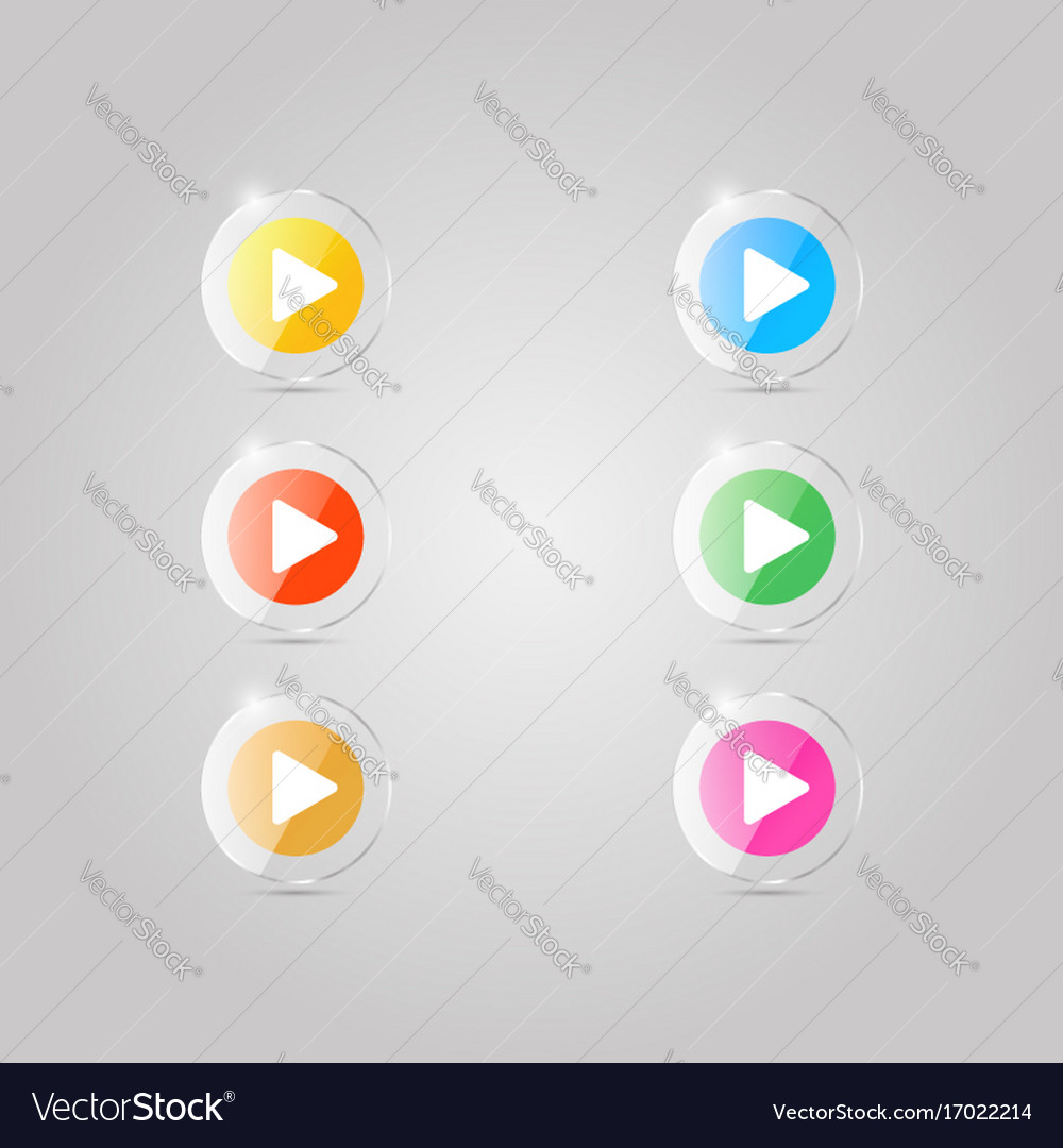 A set of colored glass icons of the player