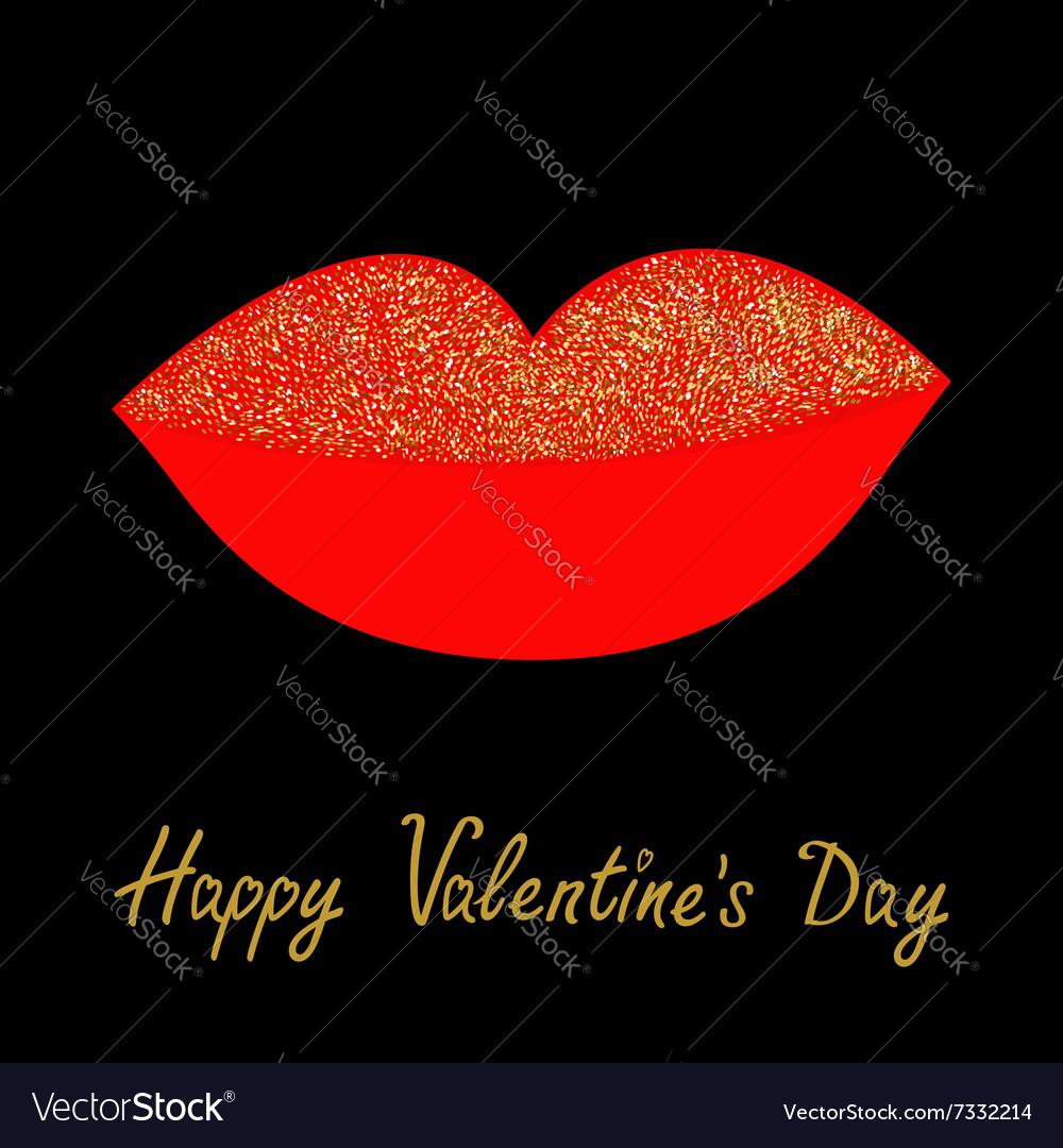 Big full thick red lips with gold glitter on black vector image