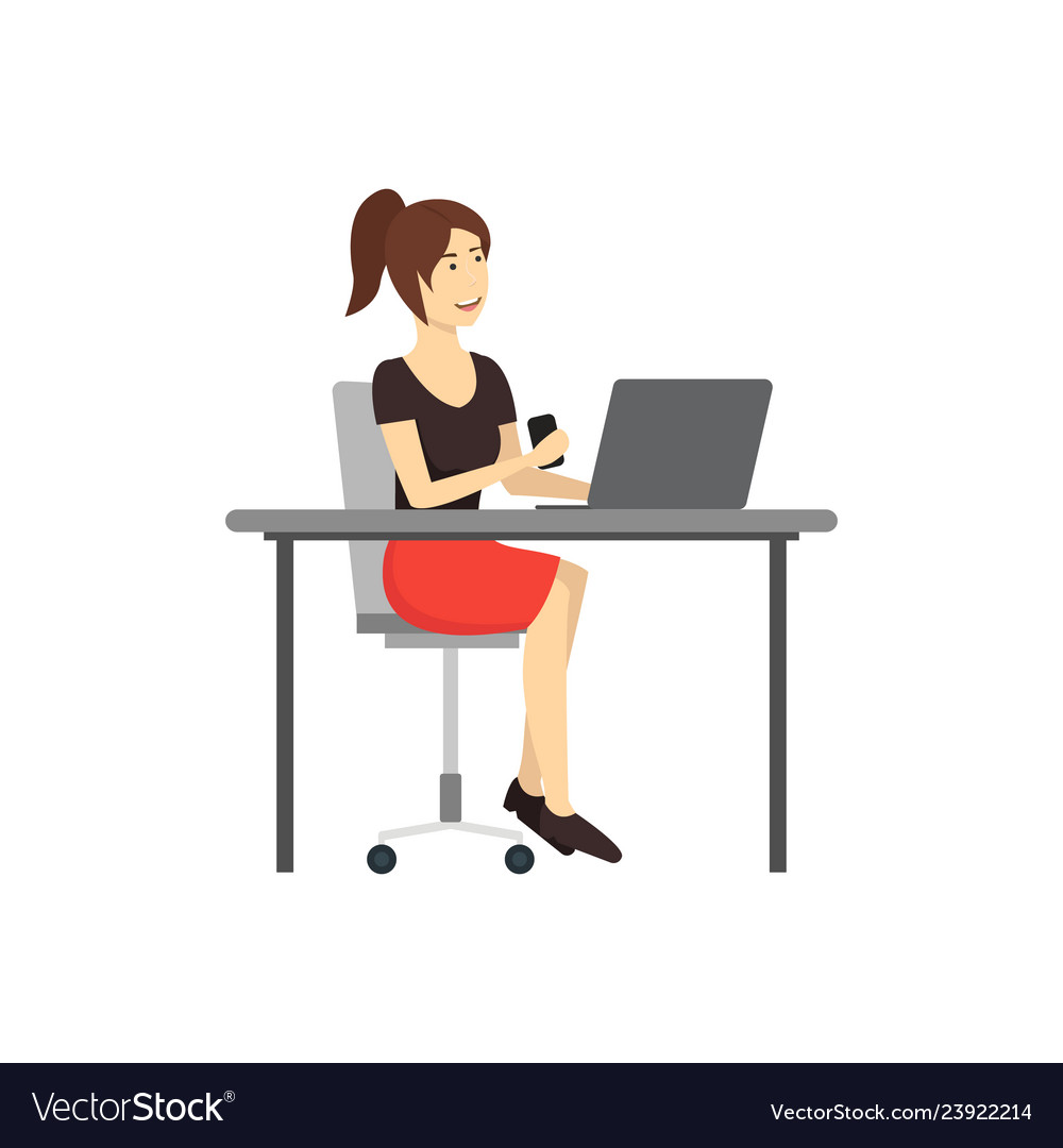 Cartoon Character Woman Works At The Computer