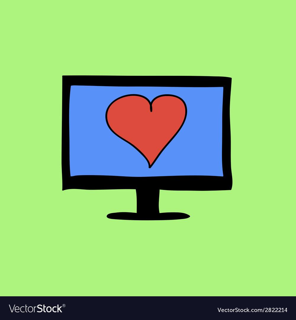 Doodle color virtual love sign