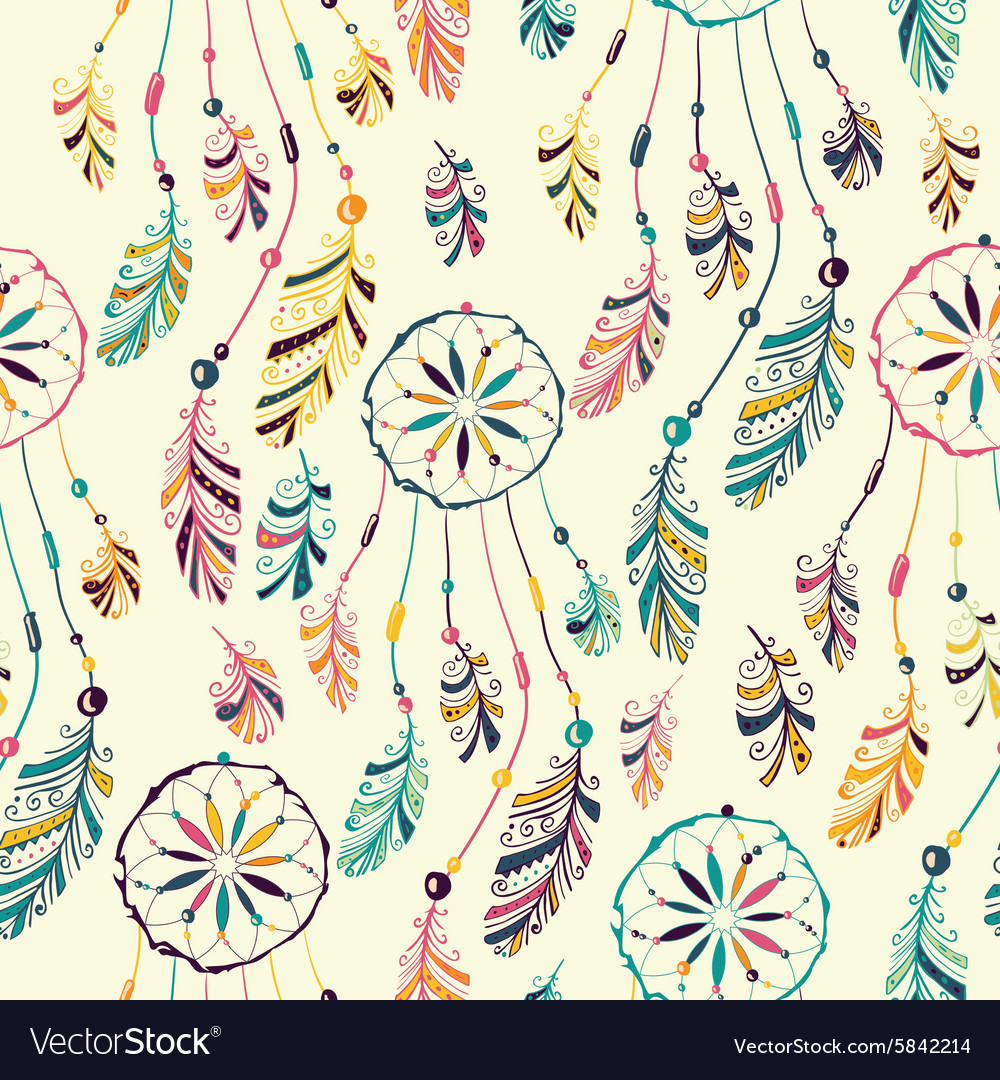 Dream Catcher Seamless Pattern Royalty Free Vector Image