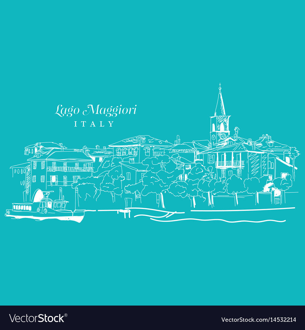 Freehand digital drawing of lago maggiore italy