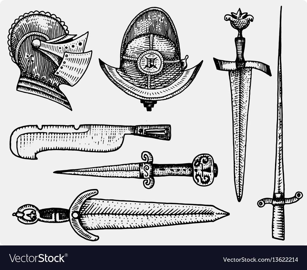 Medieval symbols helmet and swords knife vintage