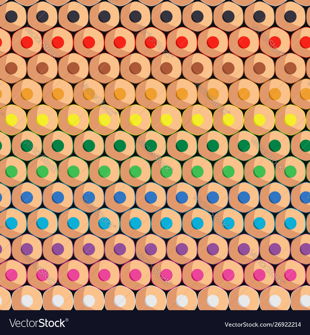 Seamless pattern with rows colored pencils