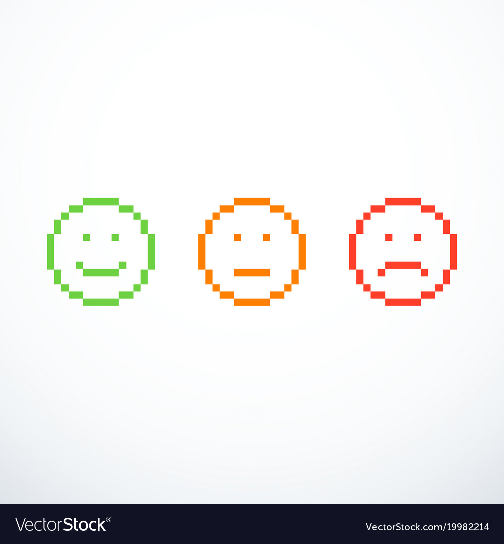Set of pixel emoticon icons