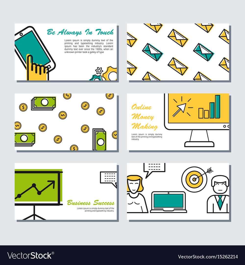 Six card template - business banners vector image