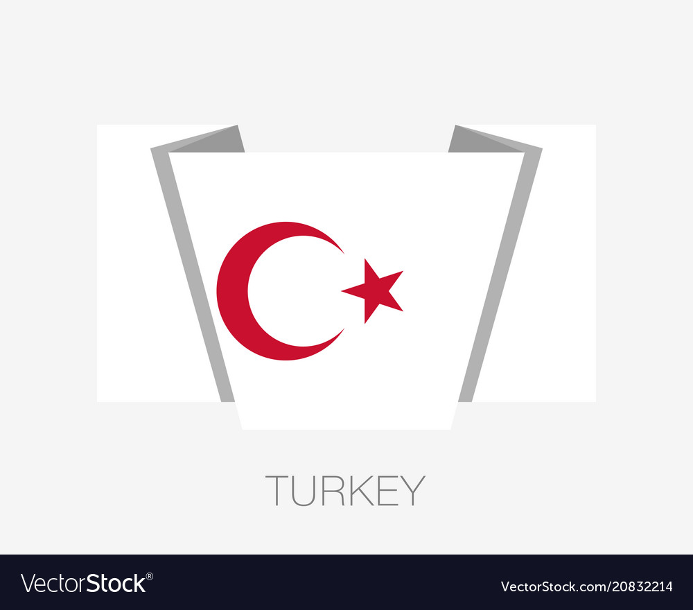 White turkish flag with red crescent and star vector image