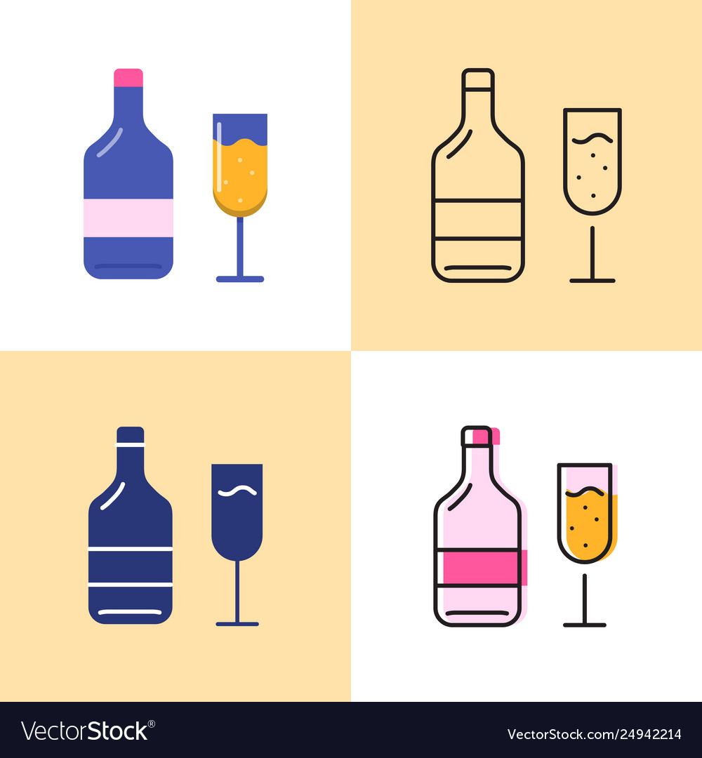 Wine bottle and glass icon set in flat and line