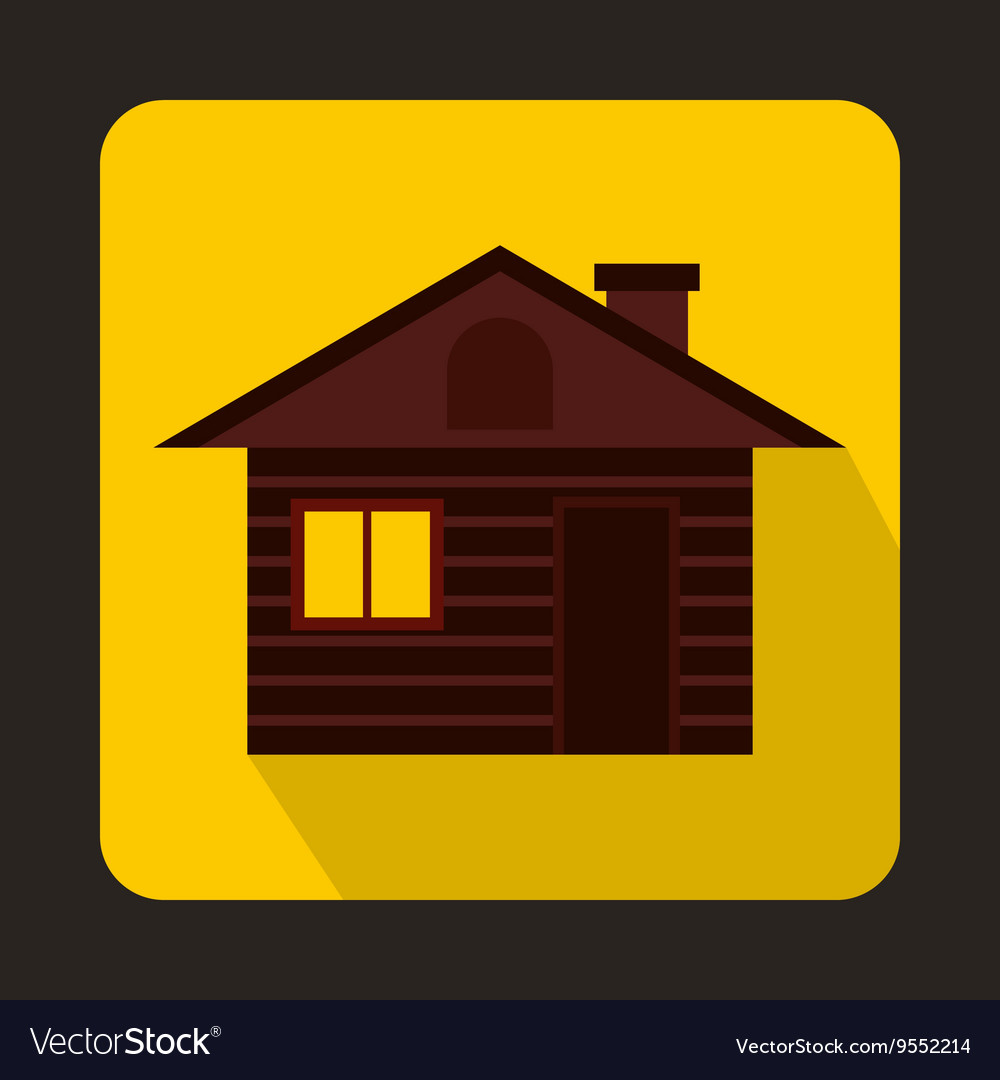 Wooden log house icon flat style vector image