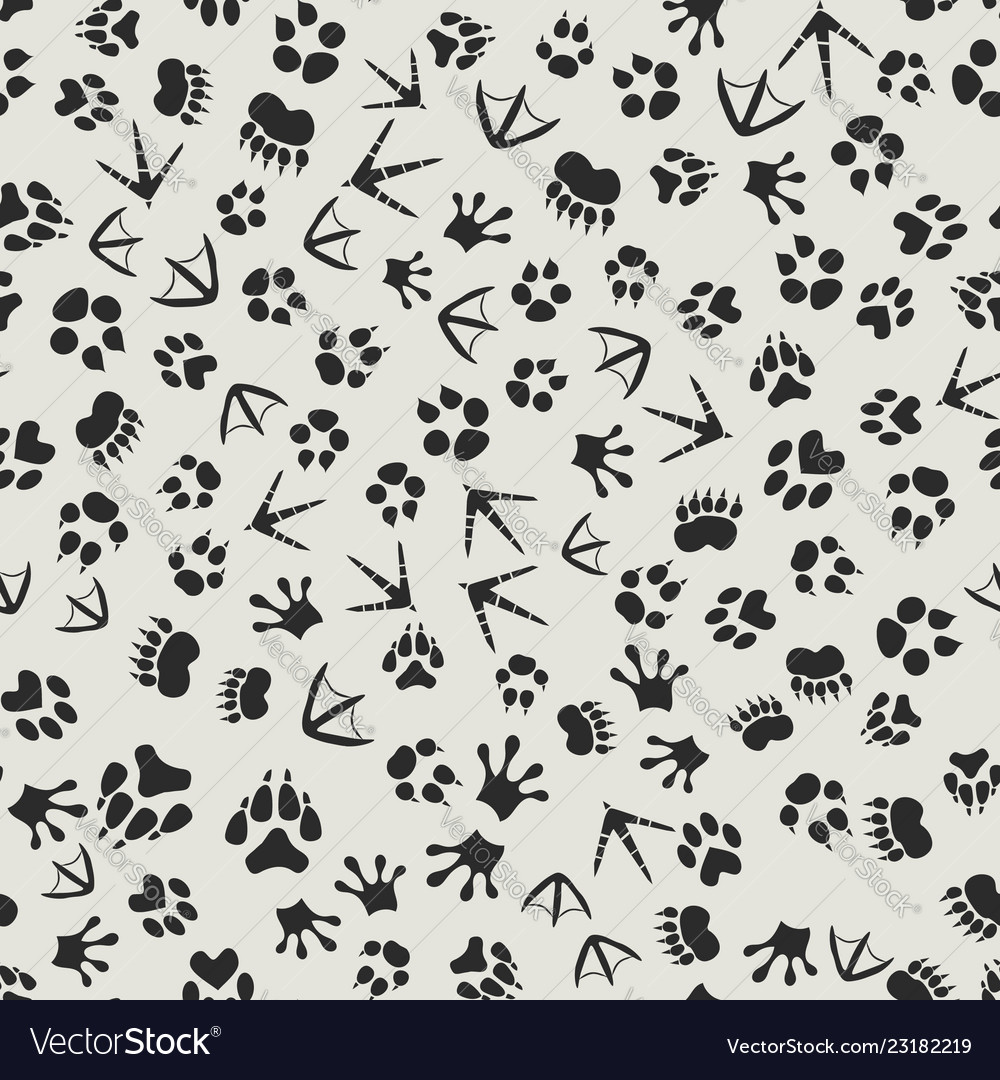 Animal tracks black and white background with