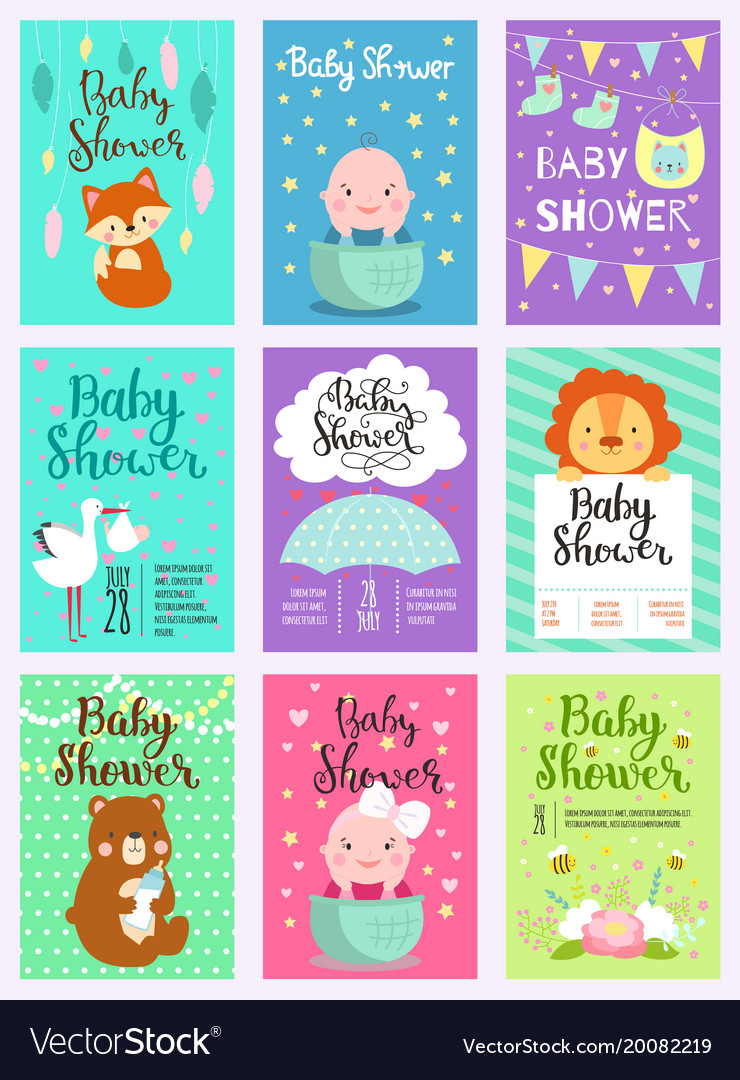Baby shower design card cute woodland