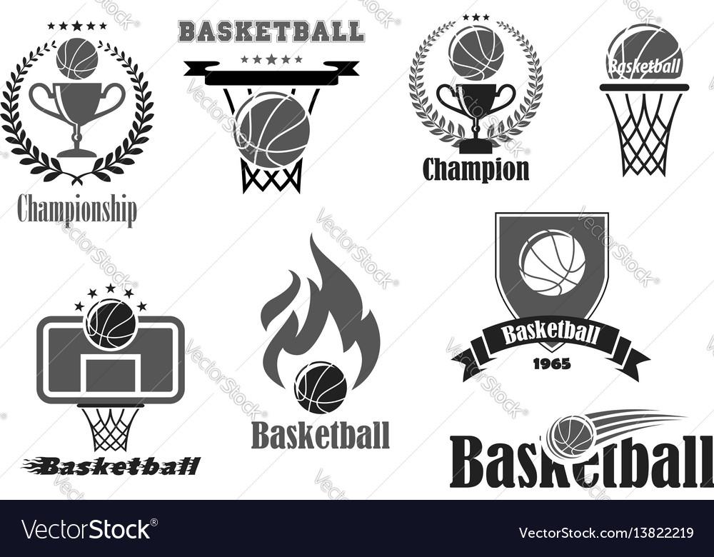 Basketball championship award icons set