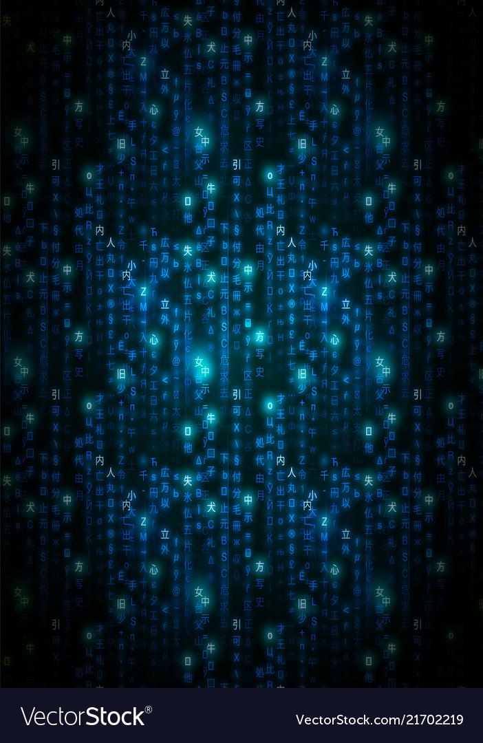 Blue Matrix Symbols Digital Binary Code On Dark Vector Image