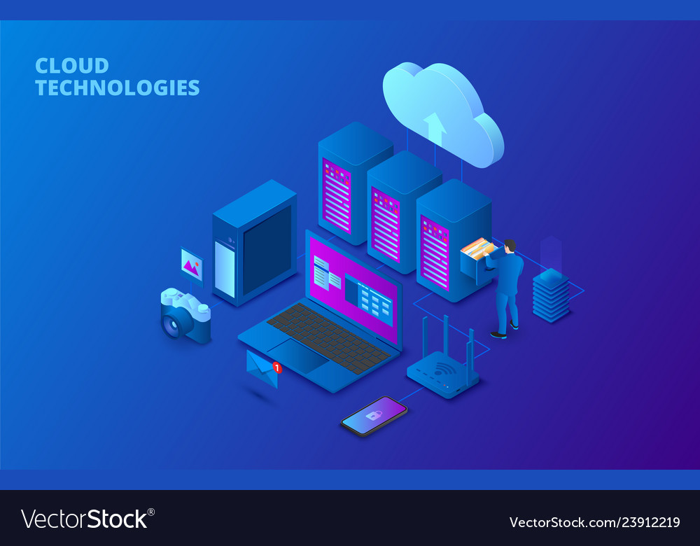 Cloud data storage isometric