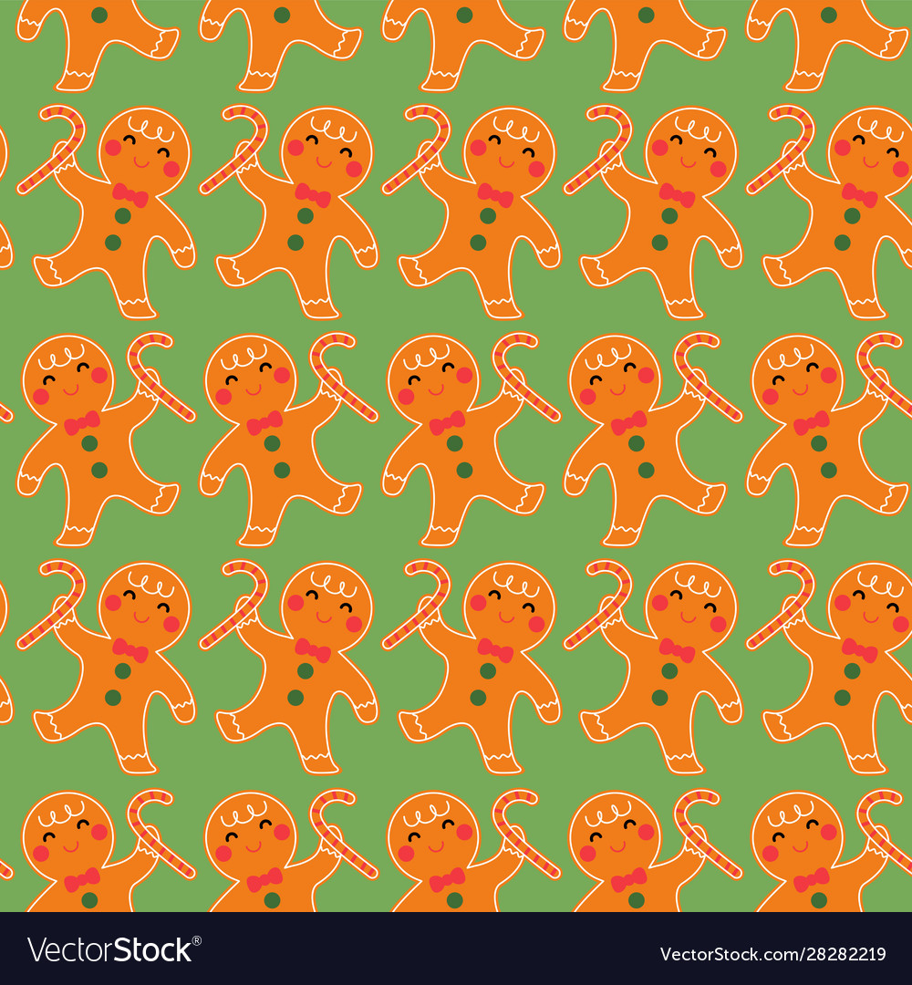 Cute gingerbread seamless pattern background
