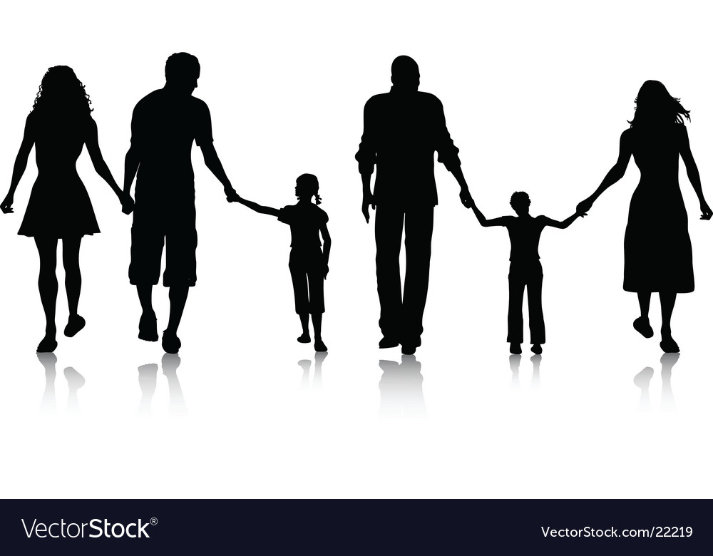 family silhouette royalty free vector image vectorstock rh vectorstock com family silhouette vector png bear family silhouette vector