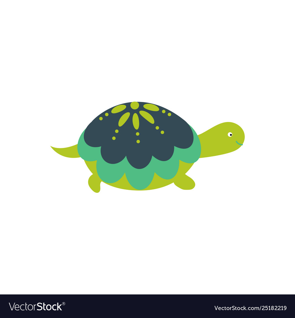 Green cartoon turtle cute character isolated