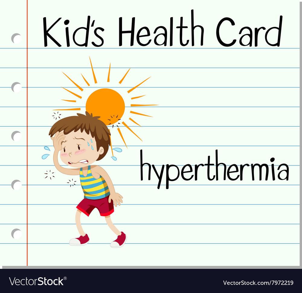 Health card with boy having hyperthermia vector image