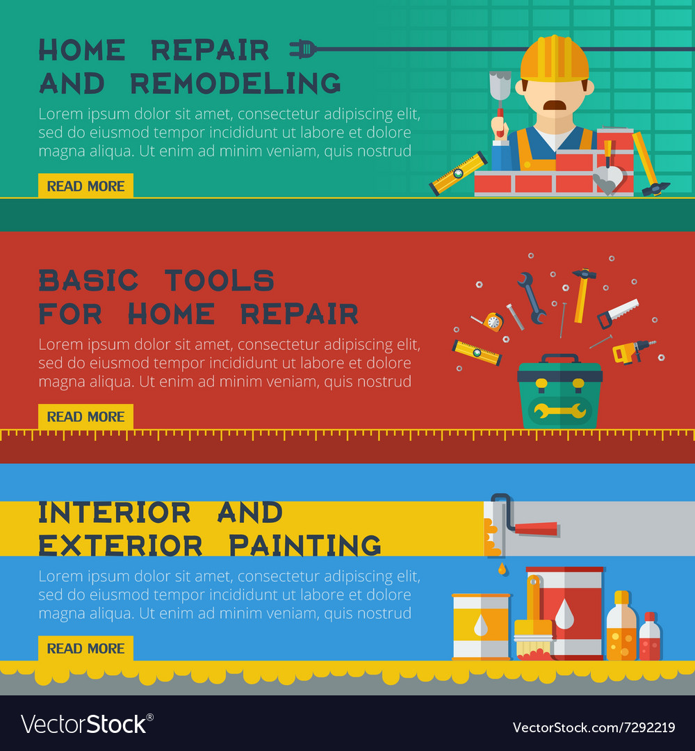 Home Repair Service Flat Banners Ser vector image
