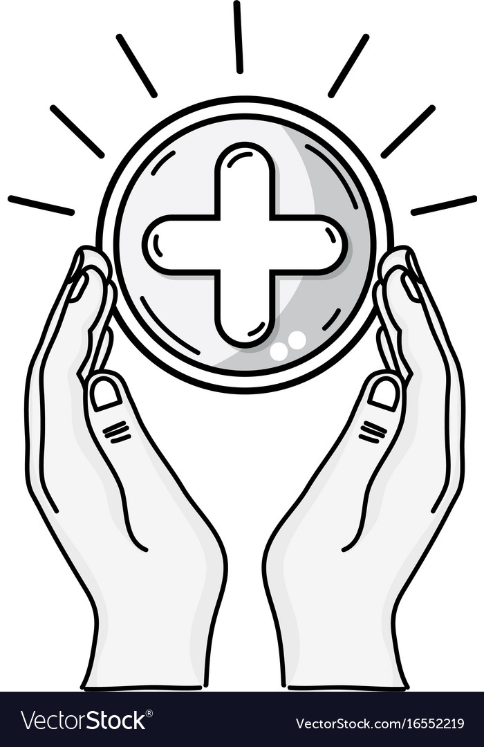Line hands with cross medicine symbol to help the