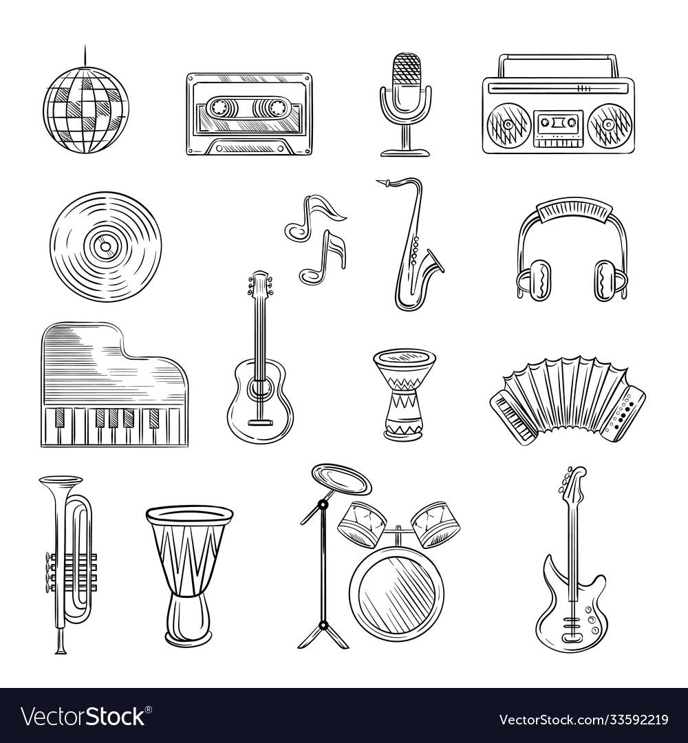 Music items icons set hand drawn sketch