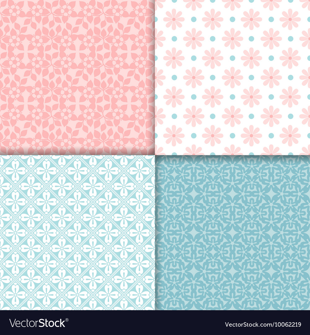 Pink and blue seamless patterns set