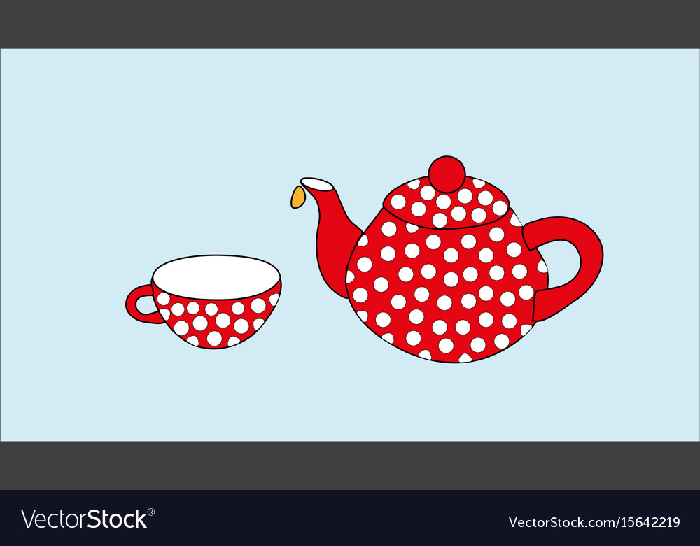Red teapot and cup on a blue background