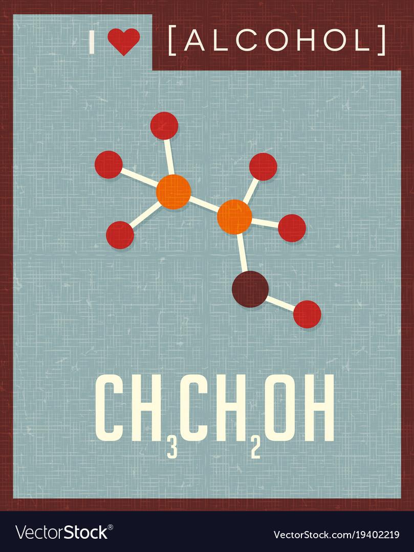 Retro poster of alcohol molecule vector image
