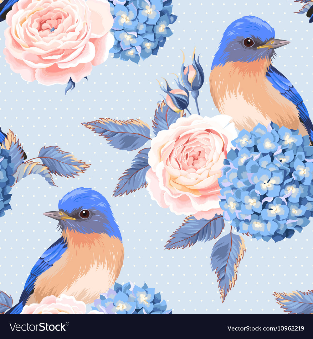 Seamless vintage flowers and birds