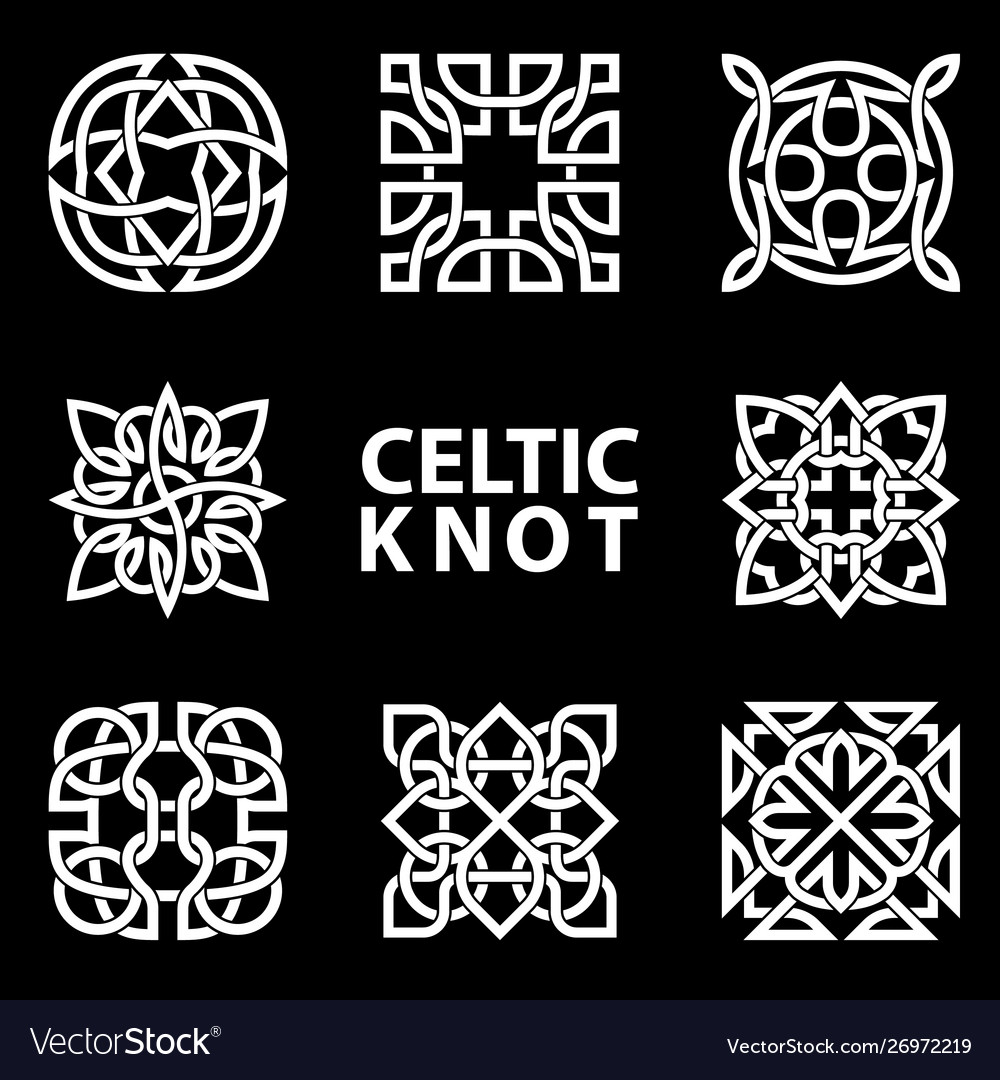 Set ancient symbols executed in celtic knot