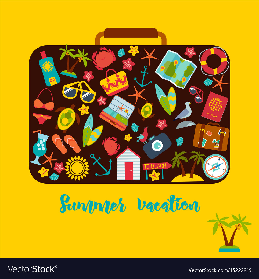 Set of summer icons inside a suitcase
