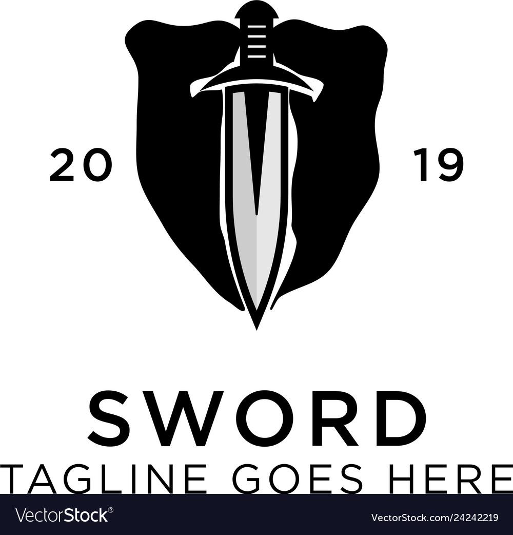 Shield sword guardian logo template