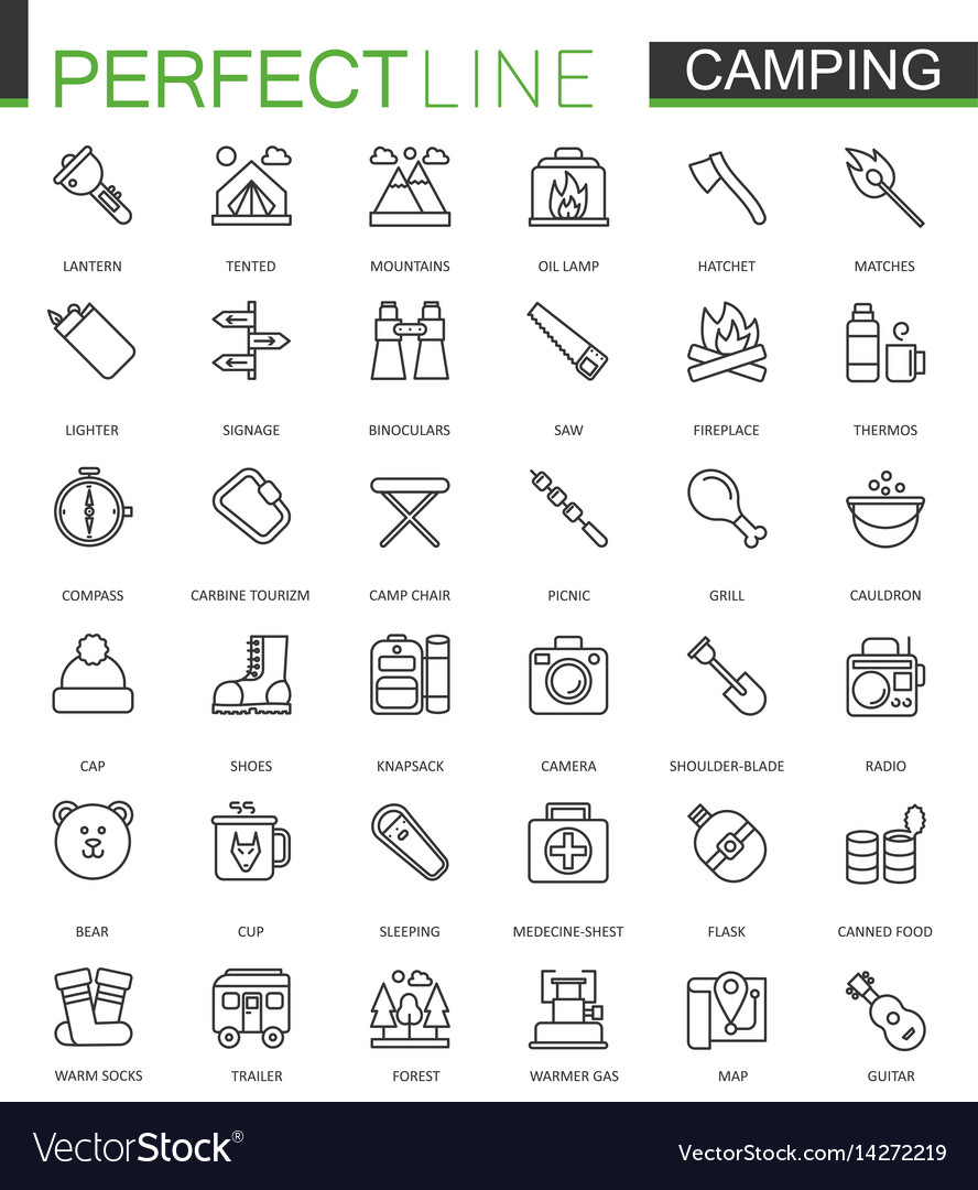 Summer outdoor camping thin line web icons set
