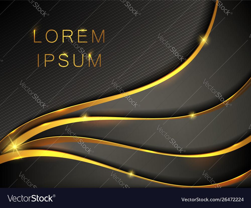 Abstract black gold metallic wavy banner