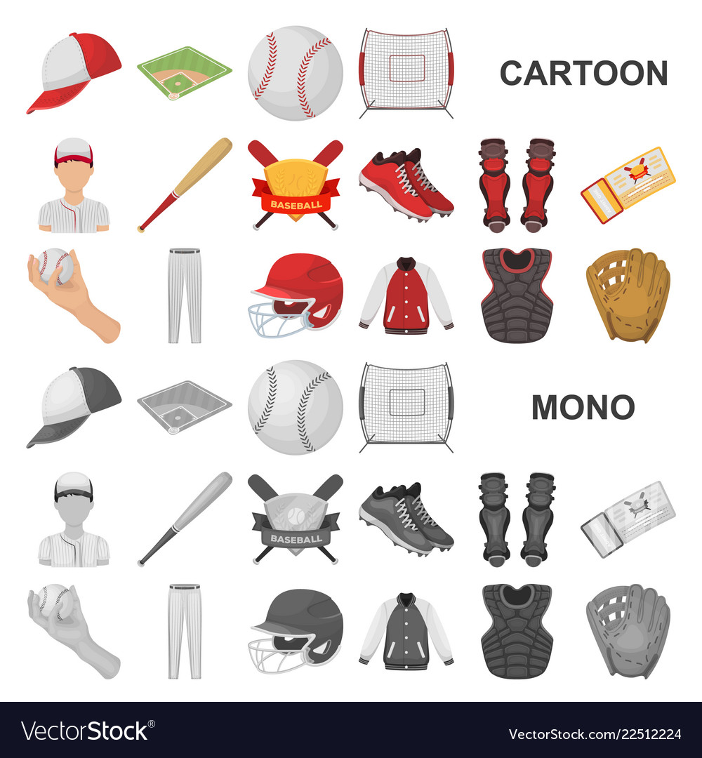 Baseball and attributes cartoon icons in set