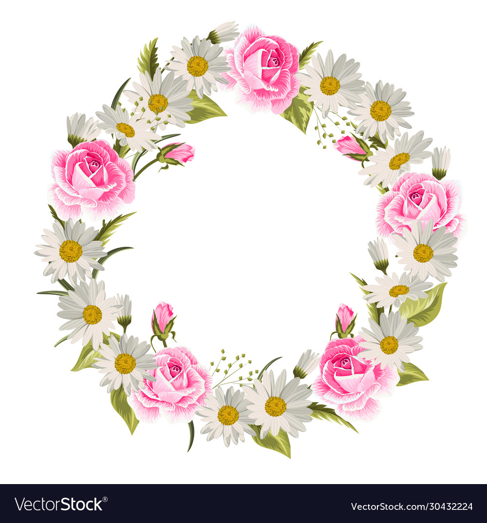 Beautiful floral wreath with roses and daisies