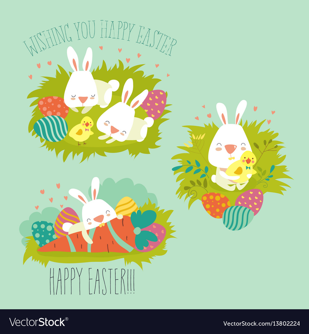 Collection of easter bunny with colorful egg