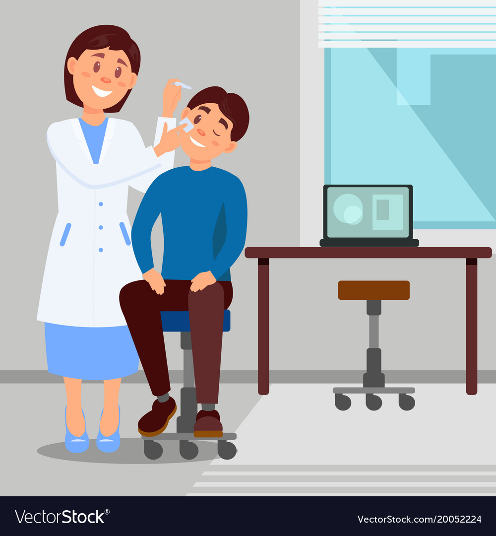 Doctor s office in clinic smiling woman treats eye