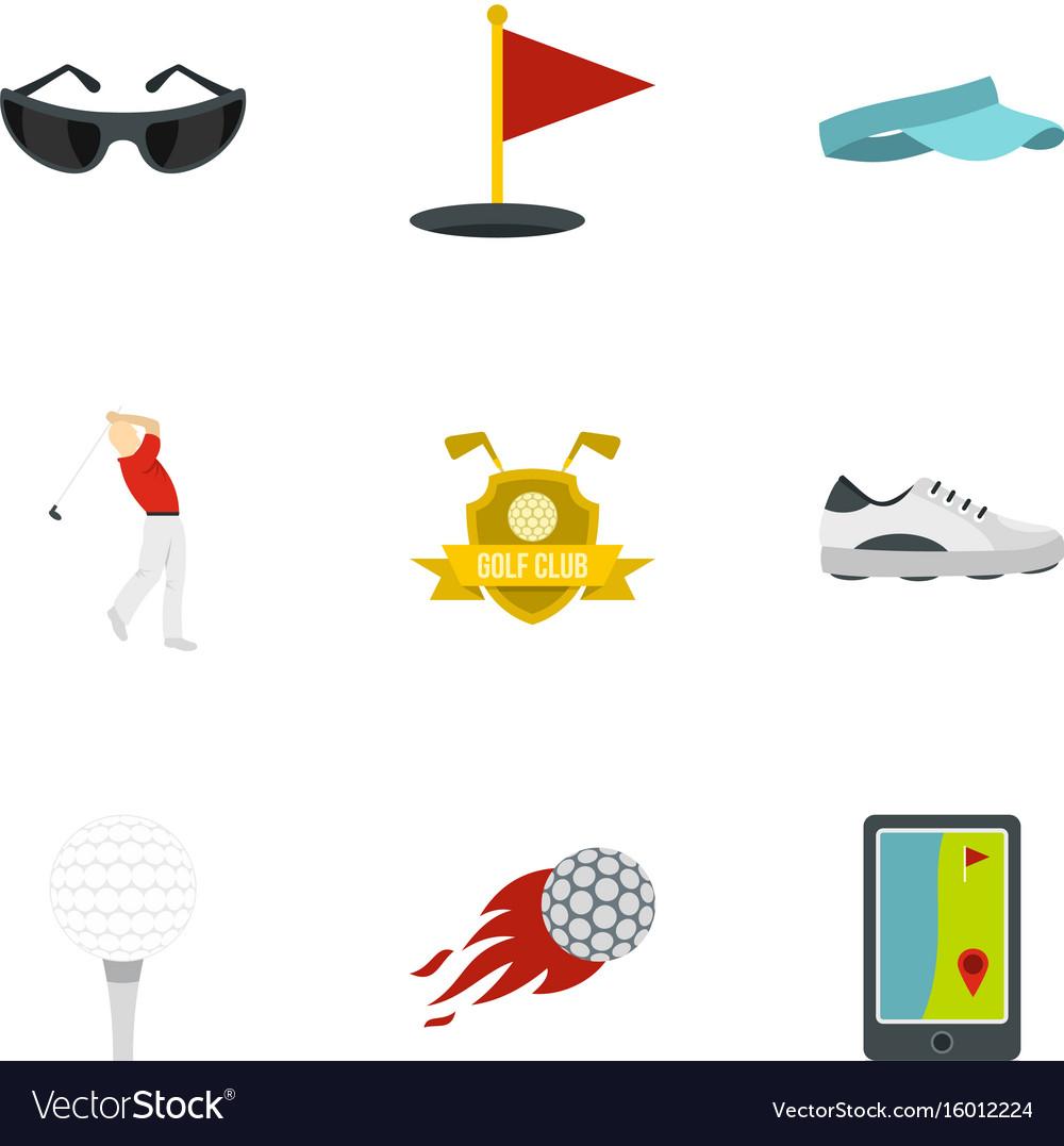 Golf icons set flat style