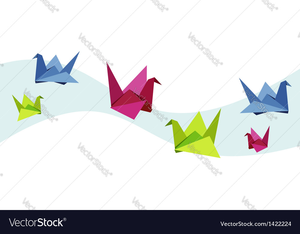 Group Of Various Origami Swan Royalty Free Vector Image