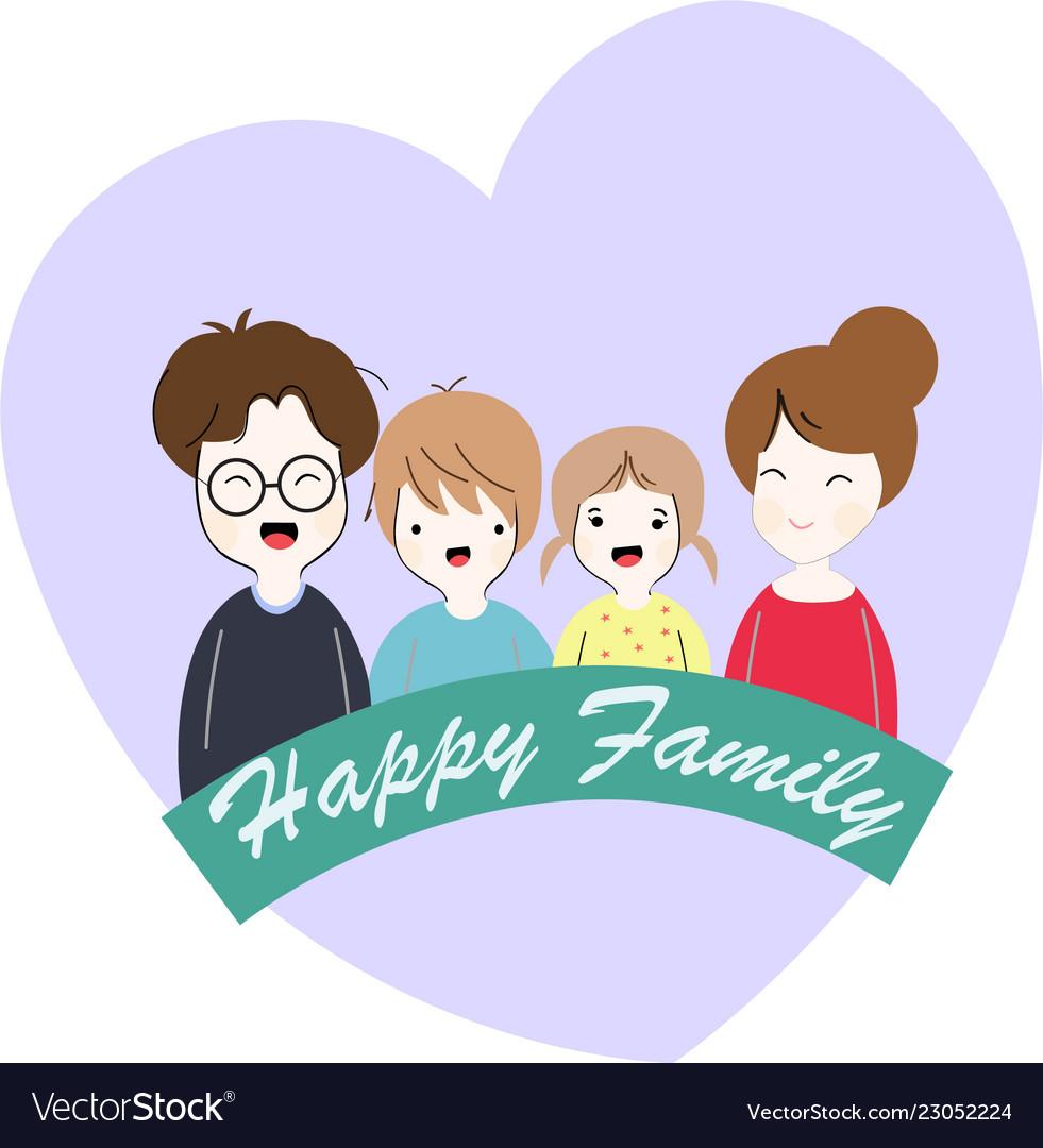 Happy Family Cute Cartoon Royalty Free Vector Image