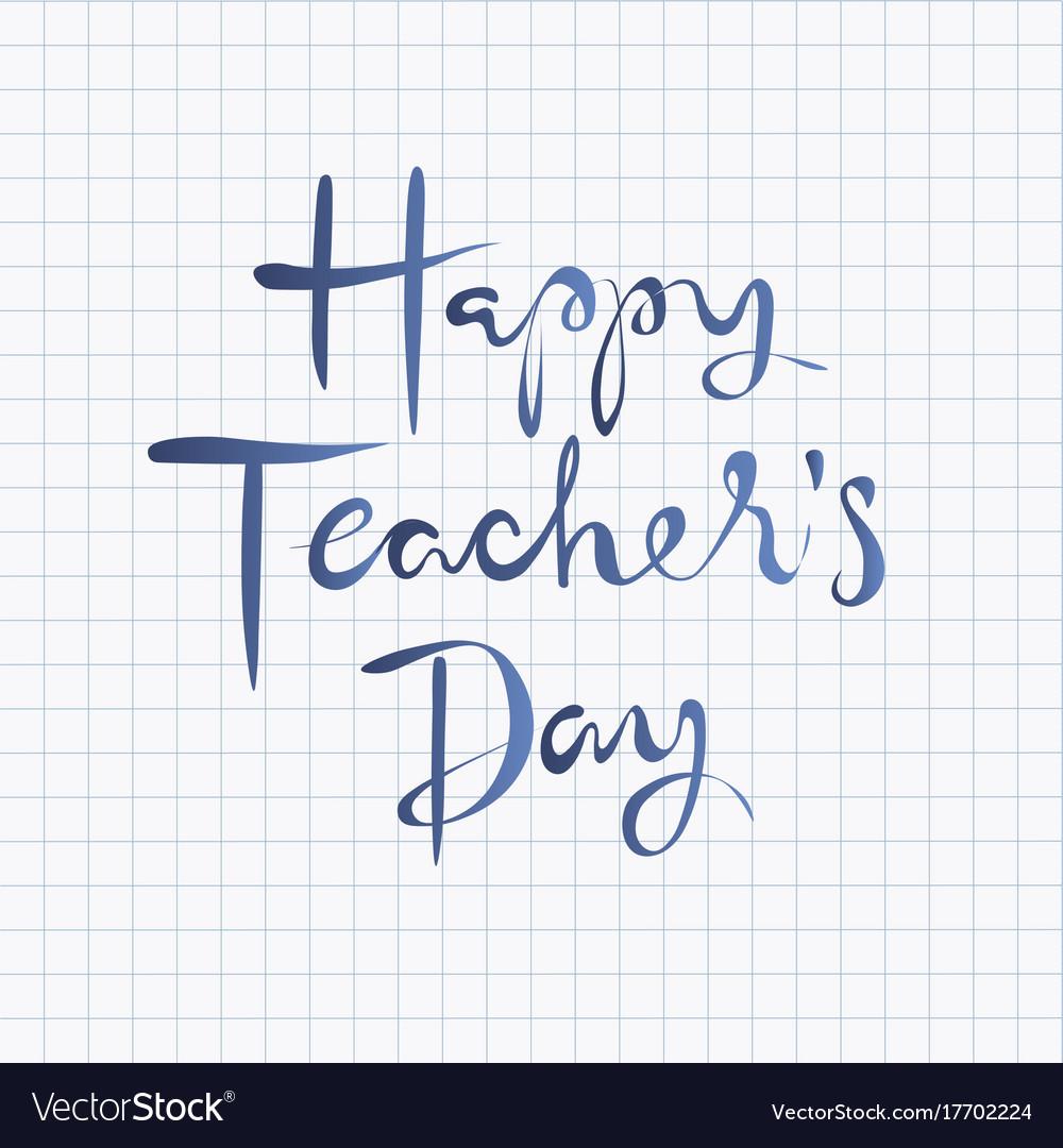 Happy teachers day lettering design
